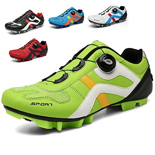 ASORT Calzado de Bicicleta de Montaña Calzado de MTB para Hombre Calzado de Ciclismo SPD Calzado para Montar en Interiores para Mujer con Tacos SPD,Green-36EU