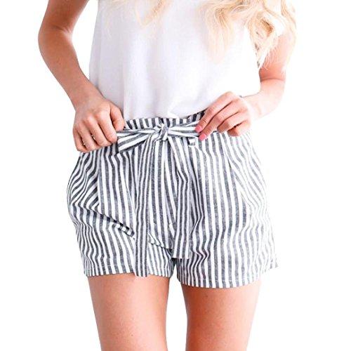 Shorts Damen Sommer Locker Luckycat Kurze Shorts Damen Sommer Gestreifte Damen Taillen Damen Shorts Hose Sommerhosen Pants Hosen (Grau, Medium)