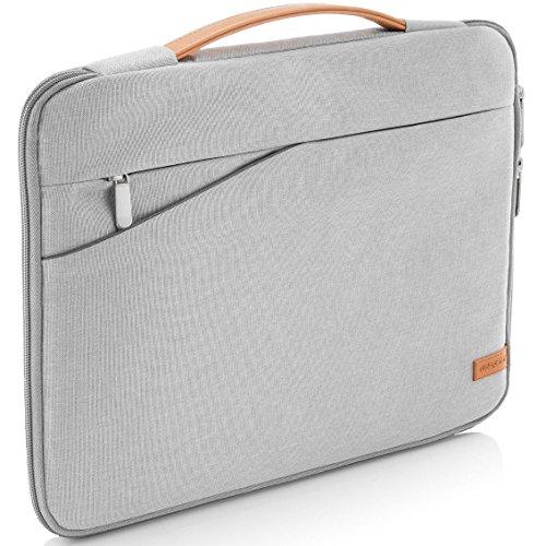 """deleyCON 17,3\"""" (43,94cm) Notebook Tasche für Netbook Laptop Laptoptasche aus robustem Nylon 2 Zubehörfächer verstärkte Polsterwände - Hellgrau"""