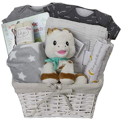 Vania's Baby Girl Gift Basket - Baby Girl Giraffe Deluxe Gift Baskets for Newborn Girls for Baby Shower & Newborn Baby Essentials