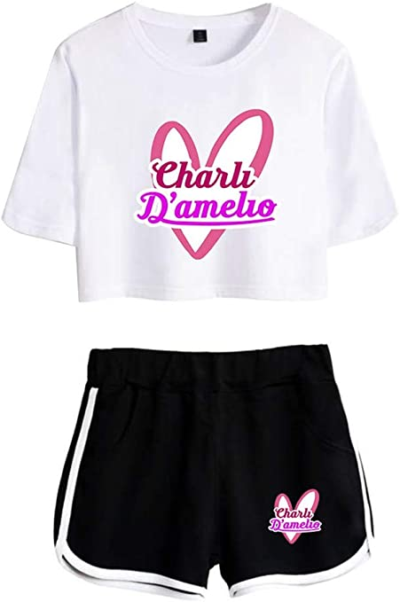 LuckinWhale Charli DAmelio Crop Top T-Shirts und Shorts Bekleidungsets f/ür M/ädchen und Damen