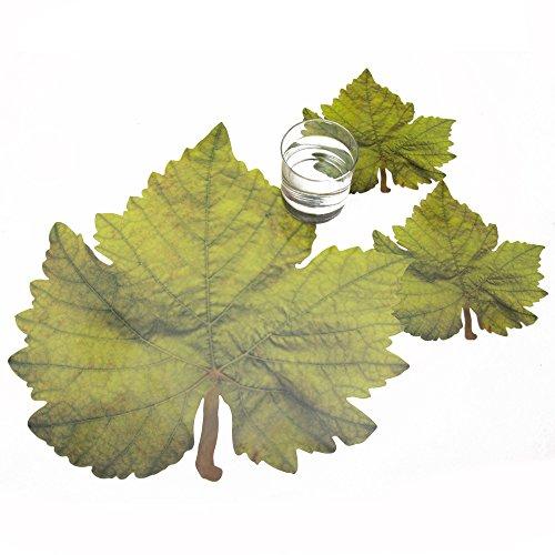 Rosemarie Schulz® 6 Tischsets Motiv Weinblatt Sommer/Herbst + 6 Glasuntersetzer/Winzer