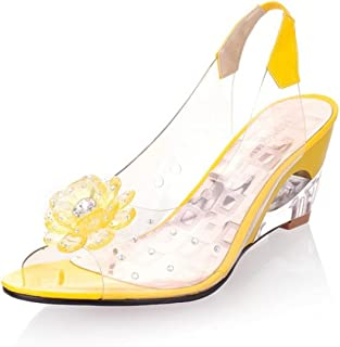 UULIKE Femme Sandales Talon Compensées Été,Mode Cristal Fleurs Strass Poisson Bouche Pantoufles Confortable Mode Bout Ouve...
