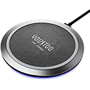 YOUSTOO Qi-Certified wireless charger, Leather Surface 7.5W Compatible iPhone 11/11pro Xs Max/XR/XS/X/8/8Plus,10W Fast wireless Charging Galaxy S10/S10 Plus/S10E/S9 (No AC Adapter, 5ft Cable Included)