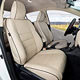 EKR Custom Fit Full Set Car Seat Covers for Select Toyota Camry LE SE 2018 2019 2020 2021(Not for Hybrid) - Leatherette (Beige)