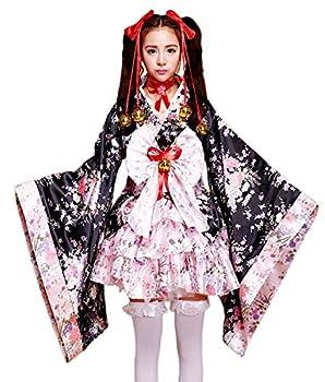 VSVO Anime Cosplay Lolita Halloween Fancy Dress Japanese Kimono Costume  Large  Black/Pink