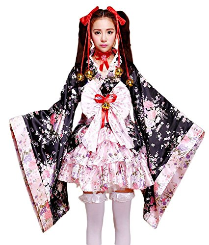 VSVO Anime Cosplay Lolita Halloween Fancy Dress Japanese Kimono Costume (Kids Medium) Black/Pink
