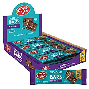 Contains (2) boxes with 12 bars (1.12 oz each), 24 total bars, of Enjoy Life Ricemilk Chocolate Bars Premium dairy-free chocolate candy bars offer a smooth, rich, creamy milk chocolate flavor without the dairy Allergy-friendly and gluten-free treats ...