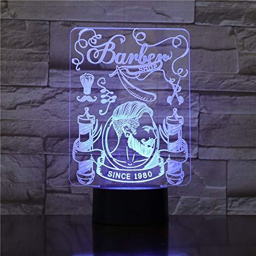 vhidfsjgdsfik Haarschneidemaschine Schädel 3D Illusion Licht Hipster Uhr Friseursalon Rasieren Nachtlicht LED Schnurrbart Schädel visuelle Schreibtischlampe 3