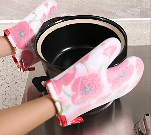 Dbtxwd Court paragraphe Plus de gel de silice de coton isolant gants haute température épaississement four Anti-hot anti-dérapants micro-ondes four , 2