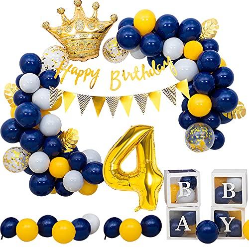 4er Decoración de Cumpleaños para Niños, SPECOOL Globos Azul Marino, Pancarta de Feliz Cumpleaños Incluida, para 4 año de Edad Decoración de Cumpleaños para Bebé Niño