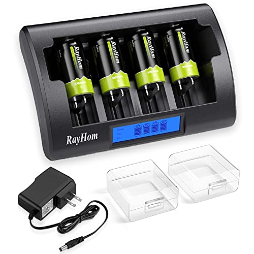 RayHom Universal Charger with C Batteries - 4 Bay LCD Charger for Ni-MH Ni-CD AA AAA C D 9V Rechargeable Batteries with Rechargeable C Batteries 5000mAh (4 Pack)