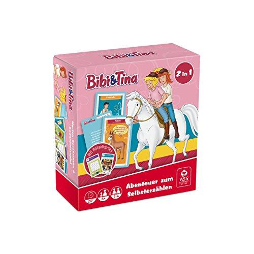 ASS Altenburger 22505222 - Bibi und Tina - 2 in 1 Box, Reisespiel - Abenteuer zum Selbererzählen mit Rätsel- und Ausmalkarten