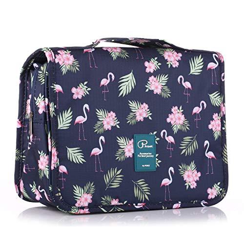 ElifeAcc Unisex Hanging Travel Toiletry Bag(Navy Flamingo)