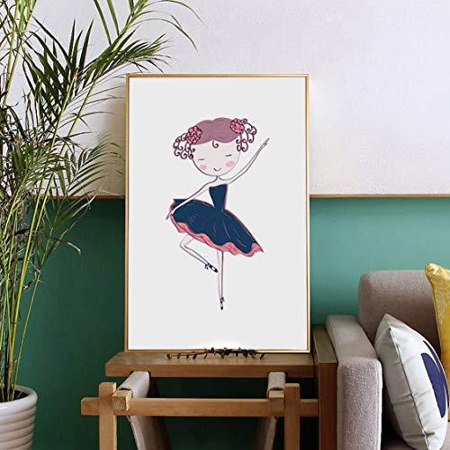 Danjiao Nette Karikatur Ballett Bild Home Decor Nordic Leinwand Malerei Kunstdruck Schöne Grills Tanzrock Schuhe Poster Für Kinderzimmer Wohnzimmer 40x60cm