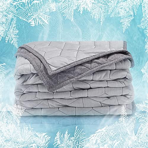 SLEEP ZONE Kühlende Tagesdecke, wendbar, leicht, atmungsaktiv, Jersey-Baumwolle, kühlende Decke, absorbiert Wärme, für Schwitzen im Sommer in der Nacht (grau + grau, Überwurf, 50 x 60) cm)