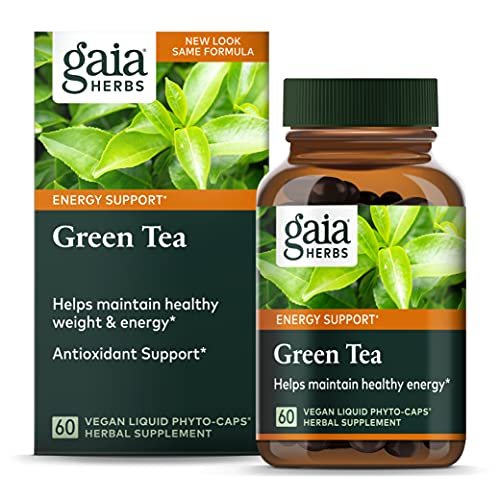 Gaia Herbs Green Tea, Vegan Liquid Capsules, 60 Count - Antioxidant Support and Heart Health Supplement, Certified Organic Green Tea Extract