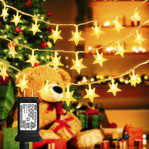 LiyuanQ Star String Lights, 100 LED Plug in String Lights 33 feet 8 Modes Star Fairy Lights Waterproof Twinkle String Lights for Wedding Party Christmas Tree Garden Indoor Outdoor Decor (Warm White)