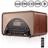 JORLAI DAB/FM-Digitalradio USB-Bluetooth-CD-Spieler mit Vintage-Holzkörper-Wecker, AUX-In-Kopfhörer und Fernbedienung