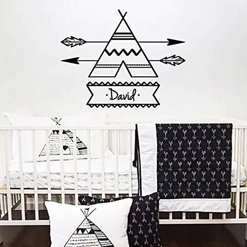 Hetingyue Vinyl muursticker, voor kinderen, slaapkamer, decoratie, tent, pijl, personaliseerbaar, naam, decoratie voor kinderkamer, familie, art poster