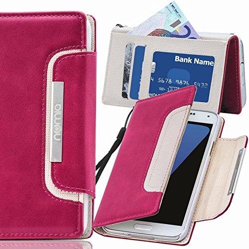 numia Motorola Moto E Hülle, Handyhülle Handy Schutzhülle [Book-Style Handytasche mit Standfunktion und Kartenfach] Pu Leder Tasche für Motorola Moto E XT1021 Case Cover [Pink-Weiss]