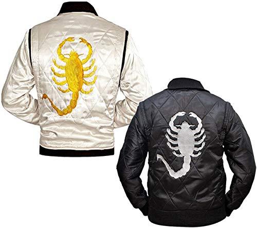 CHICAGO-FASHIONS Mens Motorcycle Driver Gosling Scorpio Logo Ivory White Bomber Satin Jacket - Lightweight Jacket for Men