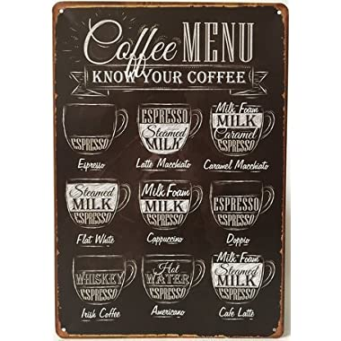 Uniquelover Coffee Menu Express Cafe Latte Retro Vintage Tin Sign 12  X 8  Inches