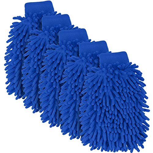 5 Pieces Car Wash Mitts Chenille Microfiber Wash Mittens Double Sided Scratch-Free Wash Mitt (Royal Blue)