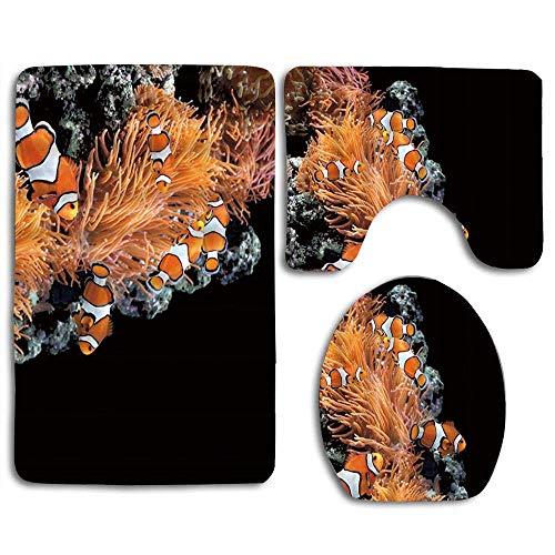 N\A Seeanemonen- und Clownfische im Meerwasseraquarium 3PCS Flanell Rutschfester Toilettensitzbezug + Fußpolster + Badematte Badezimmerset Toilettendekor