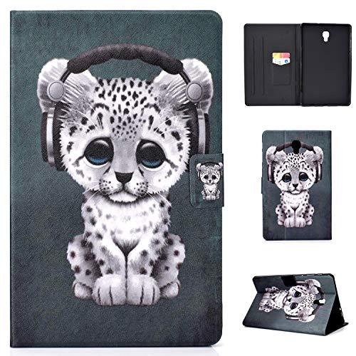 Jajacase Hülle für Galaxy Tab A 10.5 Zoll(SM-T590/T595) - PU Leder,Kratzfeste Schutzhülle Cover Hülle Tasche mit Standfunktion,Musik Leopard