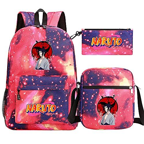 JPTYJ Colored English Letters Uzumaki Naruto Uchiha Sasuke/Itachi Mochila de Dibujos Animados de Anime para Mujer Bolsos de Viaje Informales para niños Mochilas Escolares Red-D