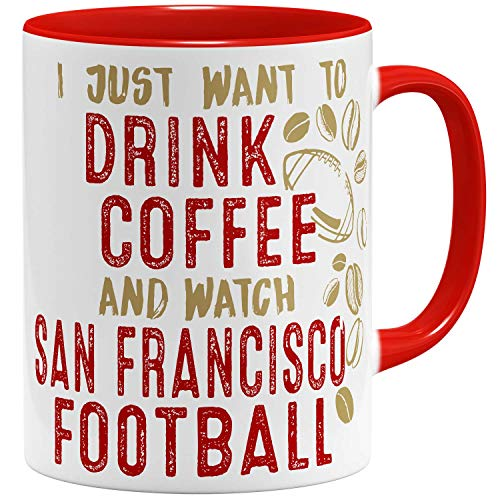 OM3® - San-Francisco-Coffee - Tasse | Keramik Becher | American Football Mug | 11oz 325ml | Beidseitig Bedruckt | Rot