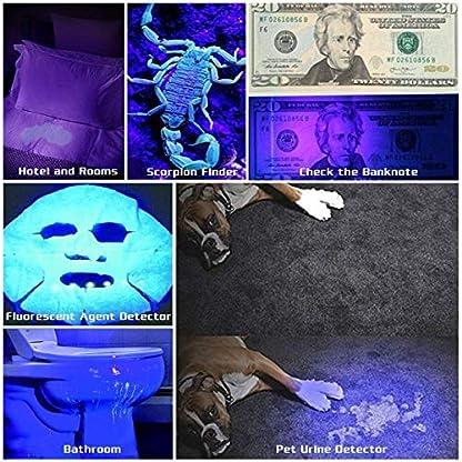 UV Blacklight Flashlight, Super Bright 128 LED Pet Dog Cat Urine Detector light Flashlight for Pet Urine Stains, UV Black light Flashlight for Bed Bugs, Scorpions Hunting 5
