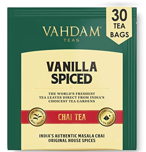 VAHDAM, Vanille gewürzt Masala Chai | 30 Teebeutel | Entlastung & Erfrischung | Masala Chai Tee | Köstliche Vanille-Tee-Mischung Gewürzter Chai Teebeutel | Chai Latte