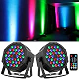 36 LED Stage Lights RGB DJ LED Par Light Remote & DMX Controlled Sound Activated Auto Play Uplights for Wedding Birthday Halloween Christmas Holiday Music Show Dance Party Stage Lighting-2 Pack