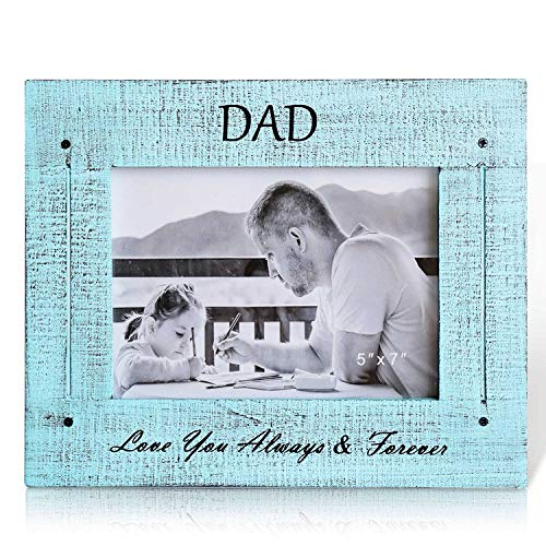 BOLUO Dad Picture Frames 5x7 Rustic Wood Father Photo Frame Blue (DAD57-B)