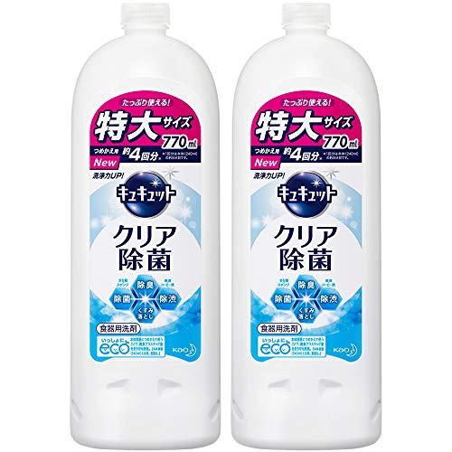 【まとめ買い】キュキュット 食器用洗剤 クリア除菌 グレープフルーツの香り 詰め替え 770ml × 2個