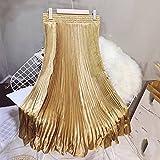 ZJMIYJ Jupes Femme Mi Longues - Waisted Pleated Mermaid Long Skirt Elastic High Waist Satin Maxi Skirts Female 11 Colors Summer Women'S Elegant Clothing for Ladies Spring Bottom,Gold,M