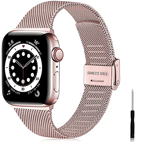 Ouwegaga Correa de Repuesto Compatible con Apple Watch Correa 38mm 40mm 42mm 44mm SE, Clásica Correa de Metal de Acero Inoxidable Compatible con iWatch Series 6 5 4 3 2 1, 38mm/40mm Oro Rosa