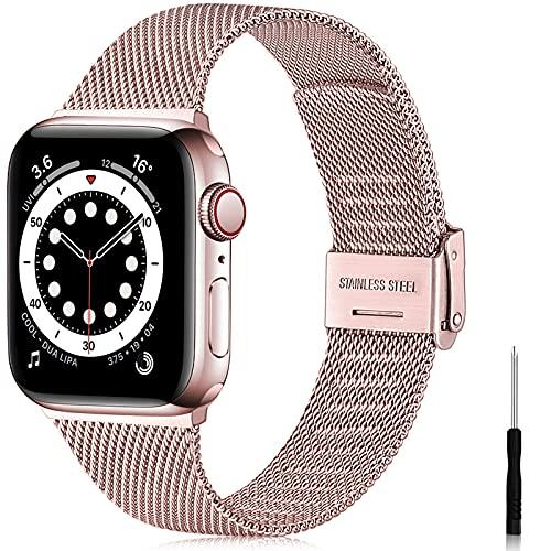 Ouwegaga Correa Compatible con Apple Watch Correa 38mm 40mm 41mm 42mm 44mm 45mm SE, Correa de Metal de Acero Inoxidable Compatible con iWatch Series 7 6 5 4 3 2 1, 38mm/40mm/41mm Oro Rosa