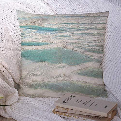 N\A Fundas de Almohada Decorativas para sofá Cama Sofá Balcón Azul Tiza Travertino Natural Piscinas Terrazas Pamukkale Turquía Atracción Naturaleza Lavabo Baño Funda de cojín Suave