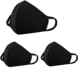 3 Pack Anti Dust Face Mouth Cover Mask Respirator - Dustproof Anti-Dust Washable - Reusable Comfy Masks - Cotton Flu Protective Breathable Safety Warm Windproof Mask for Man and Woman, Black