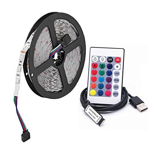 USB RGB LED Streifenlicht, 5M 60 leds/m DC 5V 5050 RGB Bunte LED Beleuchtung mit 24-Key Fernbedienung Für TV Hintergrundbeleuchtung,seil Beleuchtung,küche Decor Led streifen Lampe(nicht wasserdicht)