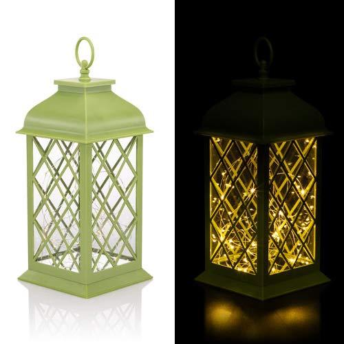 Laterne mit 50 LED beleuchtet, Timer und batteriebetrieben - FUNKELEFFEKT - Outdoor (Hellgrün)