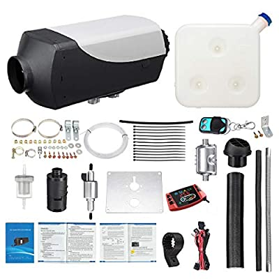 Tseipoaoi 12V 5000W Diesel Air Heater 10L Tank Parking Heater with LCD Thermostat Monitor Control Silencer & Remote Control for Truck,Boat,Car Trailer,Touring car,Campervans,Motorhomes,Caravans