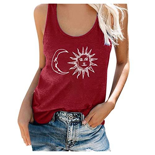 IHGWE Blusa de gasa para mujer, sin mangas, vintage, estampado, blusa de verano, elegante, camiseta de verano, holgada Vino S