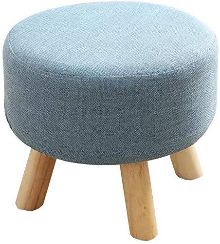 MAMINGBO Taburete de Calzado Cambio de heces cómodas sillas Taburete otomanos Tabla Bench Inicio de heces Zapatos de Madera Maciza de heces Tela de la Manera Durable Fuerte Sofá (Color : Azul)