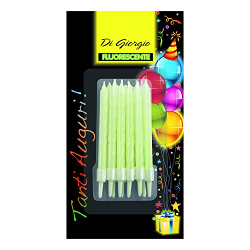 Cereria di Giorgio- Candeline di Compleanno a Spirale Fluorescenti con Supporto, 5428