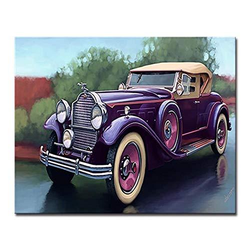 Vintage Auto DIY Schilderen Door Nummers Kits Kleurplaten Roadster Trein Olie Foto's Home Decor Handgeschilderd Rode Bus Op Canvas Muur Art 40x50cm (16 * 20