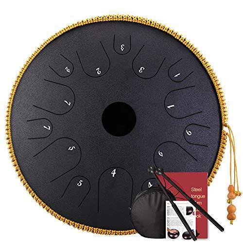 Rungao 35,6 cm Stahlzungentrommel Handpan Handtrommeln Major 14 Töne Tankdrum mit Tasche